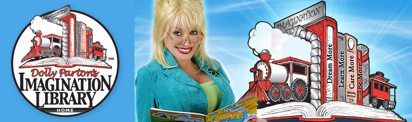 Graphic Advertising the Dolly Parton Imagination Library for kids birth - age 4 who reside in the Tecumseh Local School District.  Call 845-3601 for more information.